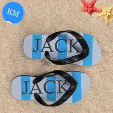 Blue Grey Stripe Personalized Flip Flops, Kid Medium
