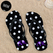 Polka Dot Flip Flops, Men Medium
