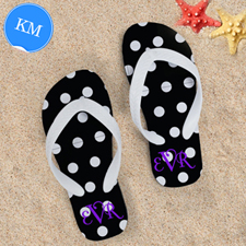 Polka Dot Flip Flops, Kids Medium