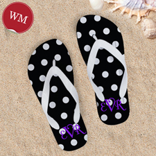 Polka Dot Flip Flops, Women Medium