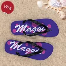 Pink Purple Dot Personalized Flip Flops, Women Medium