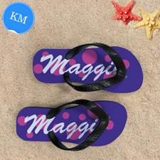 Pink Purple Dot Personalized Flip Flops, Kid Medium