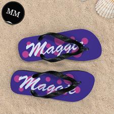 Pink Purple Dot Personalized Flip Flops, Men Medium