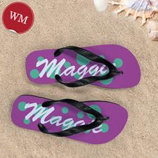Teal Pink Dot Personalized Flip Flops, Women Medium