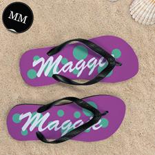 Teal Pink Dot Personalized Flip Flops, Men Medium