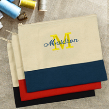Embroidered Name Over Initial Natural and Navy Cosmetic Bag