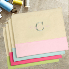 Embroidered Name Over Initial Natural Baby Pink Cosmetic Bag