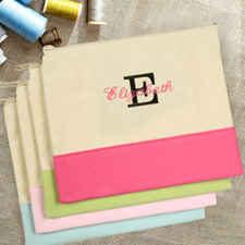 Embroidered Name Over Initial Natural Hot Pink Cosmetic Bag