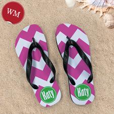 Create My Own Fuchsia Chevron, Women Medium Flip Flop Sandals