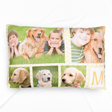 Lemon Chevron Collage Personalized Photo Pillowcase