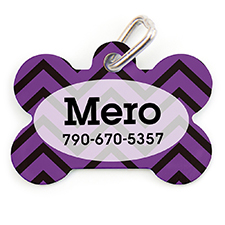 Purple Black Chevron Personalized Dog Tag Bone Shape