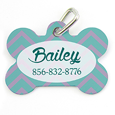 Aqua Lavender Chevron Personalized Dog Tag Bone Shape