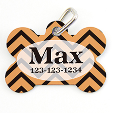 Orange Black Chevron Personalized Dog Tag Bone Shape