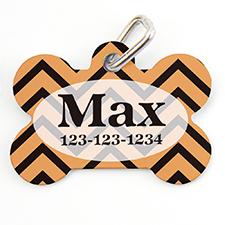 Orange Black Chevron Personalized Dog Tag Bone Shape