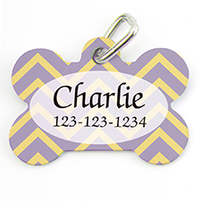 Lavender Lemon Chevron Personalized Dog Tag Bone Shape