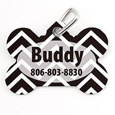 Black White Chevron Personalized Dog Tag Bone Shape