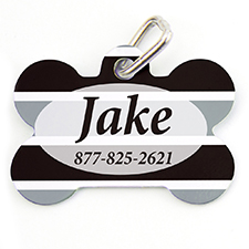 Black Grey Stripe Personalized Dog Tag Bone Shape
