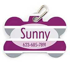 Plum Grey Stripe Personalized Dog Tag Bone Shape