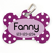 Plum Dots Personalized Dot Tag Bone Shape