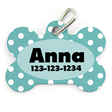 Aqua Dots Personalized Dog Tag Bone Shape
