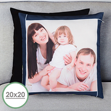 Navy Frame Personalized Large Pillow Cushion Cover 20