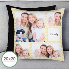 Lemon Chevron Collage Personalized Large Pillow Cushion Cover 20