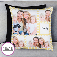 Lemon Chevron Collage Personalized Large Cushion 18