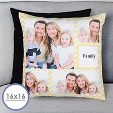 Lemon Chevron Collage Personalized Pillow Cushion Cover 16