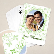 Wedding Poker Size Green Floral Standard Index