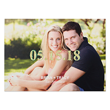 Classically Modern Glitter Personalized Photo Wedding Announcement 5X7 Cards