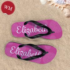 Pink Floral Personalized Flip Flops, Women Medium