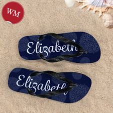 Navy Floral Personalized Flip Flops, Women Medium