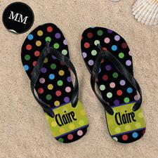 Colorful Polka Dot Personalized Flip Flop, Men Medium