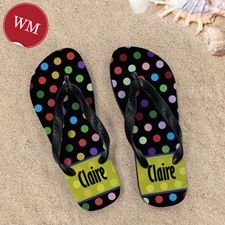 Colorful Polka Dot Personalized Flip Flop, Women Medium