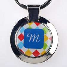 Colorful Grid Personalized Round Metal Keychain (Small)