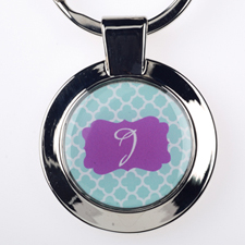 Aqua Clover Personalized Round Metal Keychain (Small)