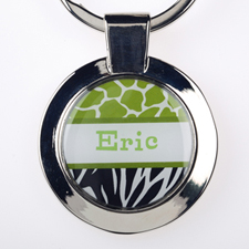 Lime Black Animal Print Personalized Round Metal Keychain (Small)