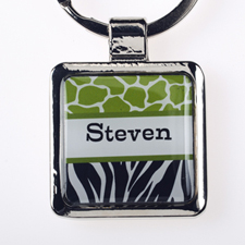 Lime Black Animal Print Personalized Square Metal Keychain (Small)