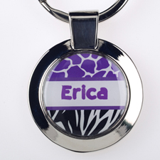 Lavender Black Animal Print Personalized Round Metal Keychain (Small)
