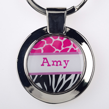 Fuchsia Black Animal Print Personalized Round Metal Keychain (Small)