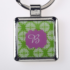 Lime Floral Personalized Square Metal Keychain (Small)