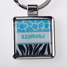 Ocean Black Animal Print Personalized Square Metal Keychain (Small)