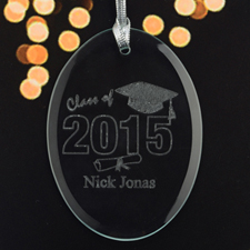 Personalized Laser Etched Graduate Glass Ornament