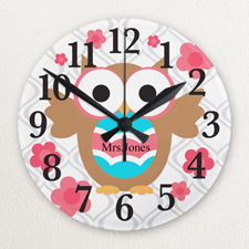 Owl Personalized Frameless Wall Clock For Teacher Custom Printed