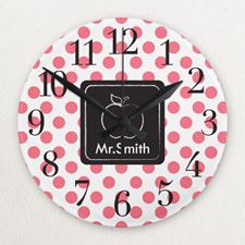 Polka Dot Personalized Frameless Wall Clock For Teacher Custom Printed