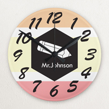 Stripe Personalized Frameless Wall Clock for Teacher