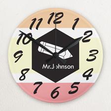 Stripe Personalized Frameless Wall Clock For Teacher Custom Printed