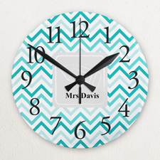 Chevron Personalized Frameless Wall Clock for Teacher