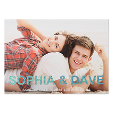 Glitter Flag The Date Personalized Photo Save The Date Cards