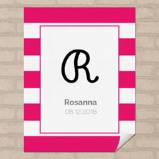 Hot Pink Stripe Personalized Name Poster Print Small 8.5